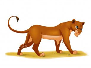 обоя рисованное, животные,  львы, львица, фон