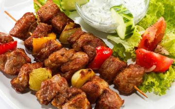 обоя еда, шашлык,  барбекю, салат, огурцы, овощи, зелень