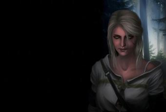 обоя видео игры, the witcher 3,  wild hunt, cirilla, фон, witcher, 3, wild, hunt, арт, зеленые, глаза, ciri, девушка, лес