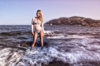 обоя девушки, -unsort , блондинки, море, волны, побережье