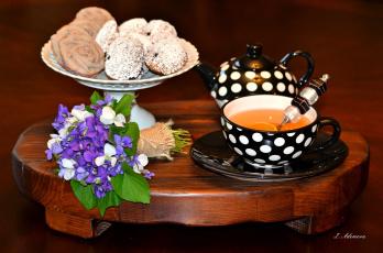 Картинка еда натюрморт букет печенье чай