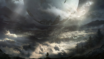 обоя видео игры, destiny 2, сфера, лес, destiny, 2, облака, арт, горы, bungie