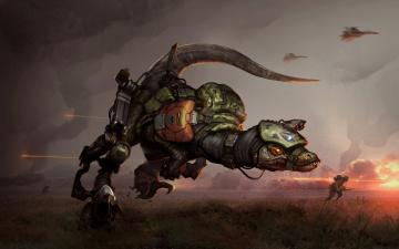 Картинка фэнтези существа spetsnaz raptor dinosaur спецназ омон фантастика война поле арт