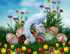 обоя праздничные, пасха, цветы, яйца, птица
