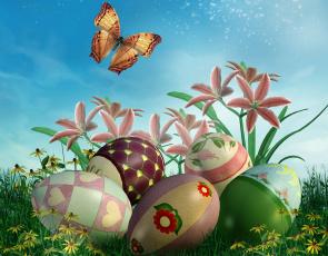 обоя праздничные, пасха, цветы, яйца, бабочка