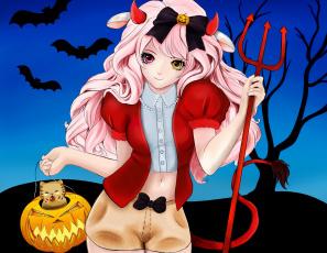обоя праздничные, хэллоуин, девушка, рога, летучая, мышь, бант, шорты, дерево