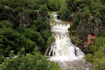 Картинка природа водопады поток водопад деревья скалы