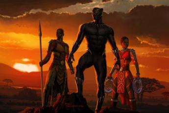 обоя рисованное, кино, black, panther