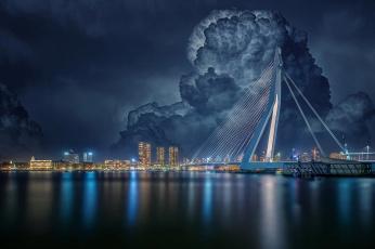 обоя города, - мосты, облака, мост, роттердам, город, нидерланды, вечер, дома, здания, река