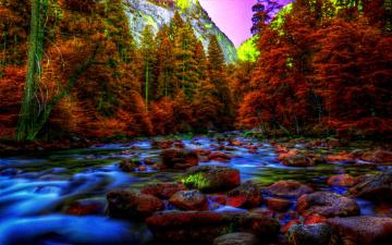 Картинка yosmite in autumn природа реки озера осень река лес камни горы