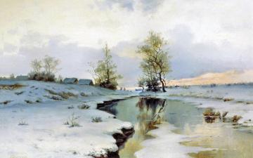 Картинка рисованные живопись снег река