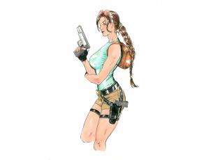 Картинка рисованное комиксы пистолет коса фон девушка