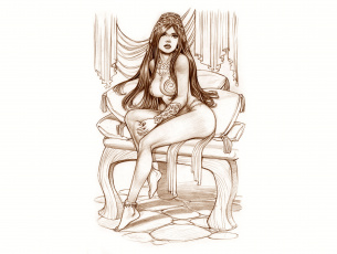 Картинка рисованное комиксы скетч взгляд фон девушка