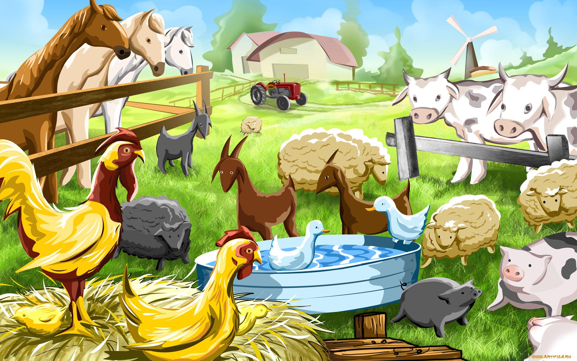 Рисованные картинки для детей домашние животные, марта