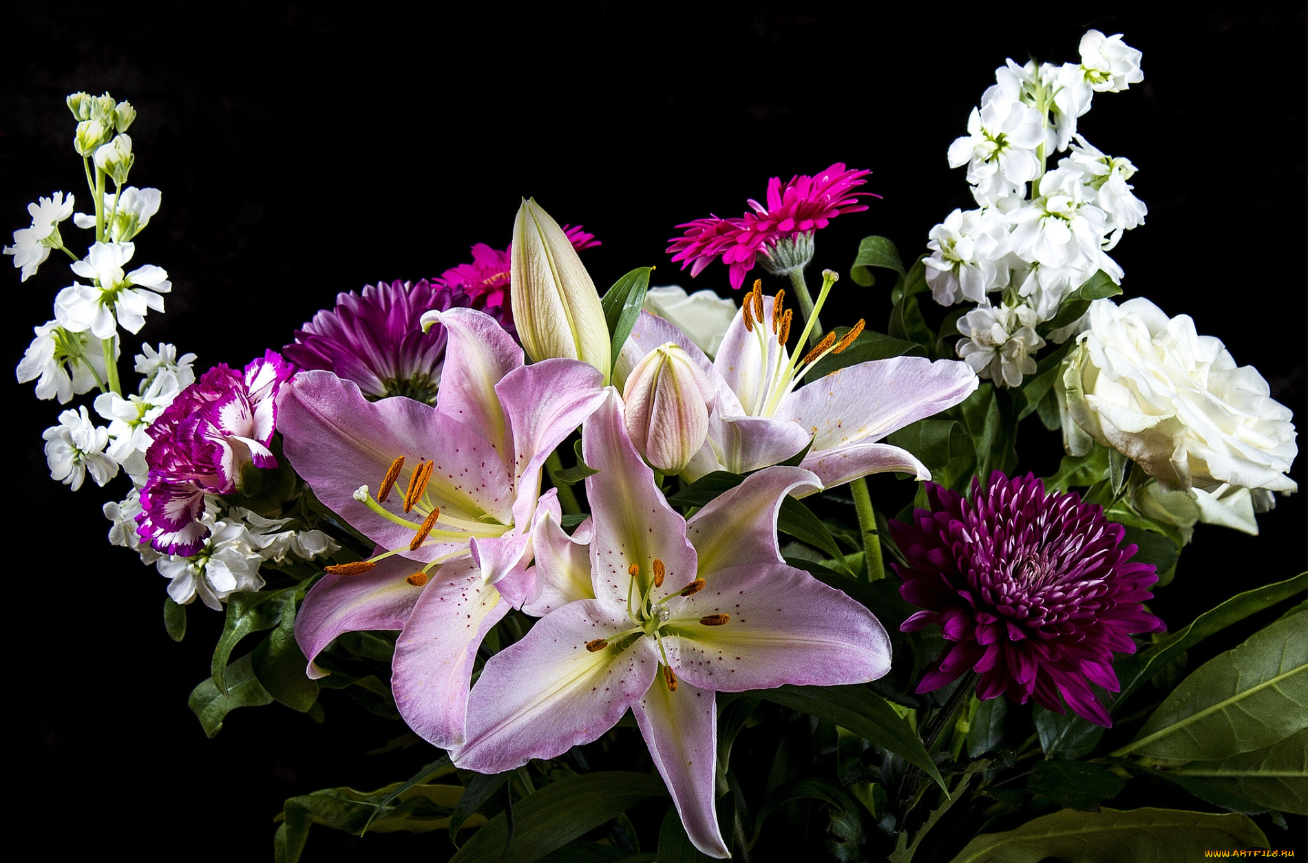 обои на рабочий стол букеты розы герберы лилии гвоздики № 172268 без смс