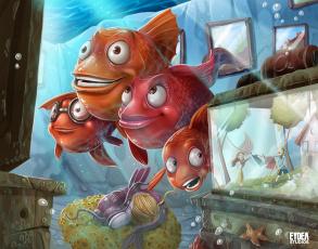 Картинка фэнтези существа рыбы аквариум