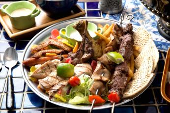 обоя еда, шашлык,  барбекю, хлебцы, овощи, ассорти, мясо