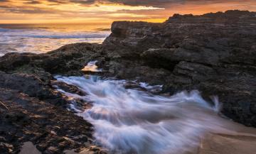 Картинка природа побережье океан сумрак тучи скалы