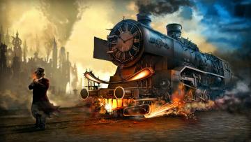 обоя фэнтези, люди, поезд, путь, фон, мужчина