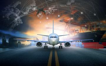 обоя авиация, авиационный пейзаж, креатив, пассажирский, контейнера, корабль, ночь, самолет, краны, рендер, взлетная, полоса, город, порт
