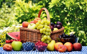 обоя еда, фрукты,  ягоды, урожай, корзина