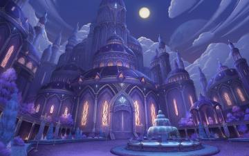 обоя фэнтези, замки, ночь, дворец, фонтан, fantasy, луна
