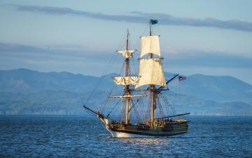 Картинка корабли парусники паруса мачты небо река