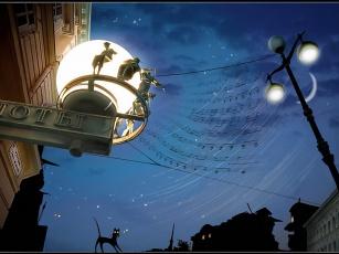 обоя блюз, для, фонарного, столба, blackybird, club, foto, ru, рисованные, другое