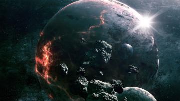 Картинка космос арт звезды астероиды планеты