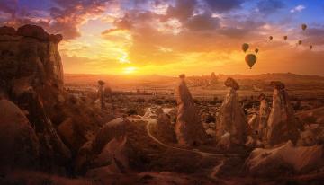 обоя авиация, воздушные шары, небо, шары, воздухоплавание, скалы, горы