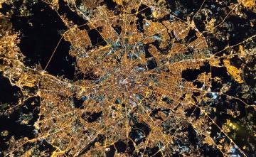 обоя города, москва , россия, город, панорама, огни, ночь