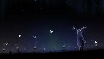 обоя рисованное, vladstudio, одуванчики, бабочки, ночь