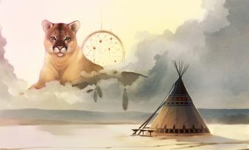 Картинка рисованное животные +пумы вигвам puma