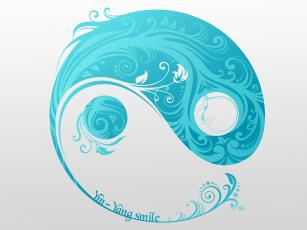 Картинка векторная+графика графика+ graphics yin-yang smile символ ин-янь серый фон