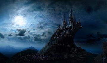 Картинка фэнтези замки город ночь свет замок арт небо луна fantasy фантастика