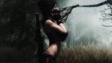 Картинка the elder scrolls skyrim видео игры лес амазонка девушка