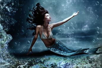 Картинка фэнтези русалки волосы вода