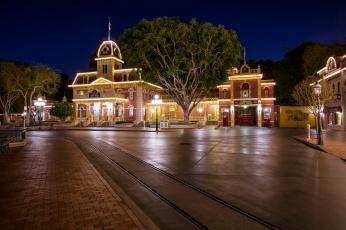 Картинка города диснейленд фонари парки ночь дороги сша калифорния анахайм дизайн hdr