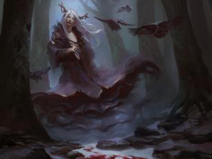 обоя фэнтези, существа, вороны, рога, существо, зима, лес