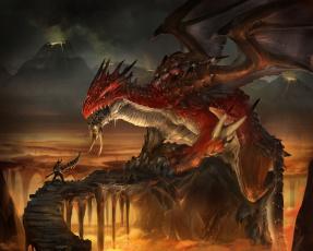 Картинка фэнтези драконы лава скалы оружие вулканы воин дракон