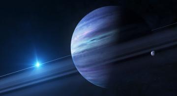 Картинка космос арт синива кольцо звезда спутник поанета