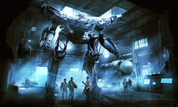 Картинка фэнтези роботы +киборги +механизмы люди арт пилот оружие ангар фантастика робот