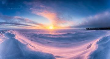 Картинка природа восходы закаты снег закат