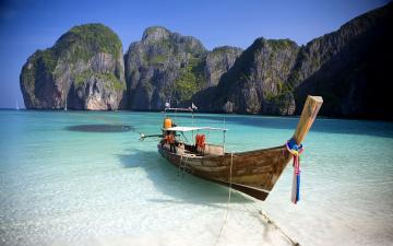 обоя корабли, лодки,  шлюпки, джонка, лодка, пляж, вода, beach, thailand