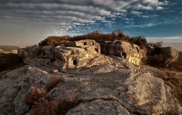 обоя города, - исторические,  архитектурные памятники, пещерный, город, эски-кермен, крым, татьяна, аверина