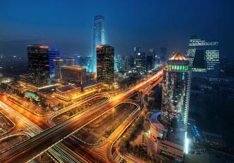 Картинка beijing china города пекин китай небоскрёбы здания дорога ночной город