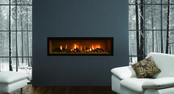 Картинка интерьер камины деревья кресла подушки серый природа зима снег огонь камин комната