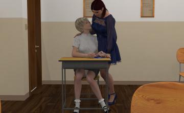 Картинка 3д+графика people+ люди девушки стол