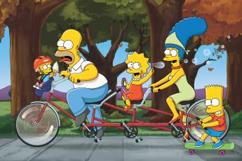 Картинка мультфильмы the+simpsons спорт bicycles кино семья мультфильм simpsons велосипед мэгги лиза мардж барт гомер улыбка настроение bike love on the