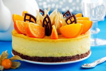 обоя еда, торты, чизкейк, физалис, апельсин